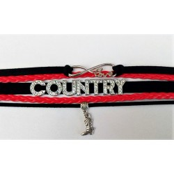 Bracelet Country Girl Noir et Rouge Botte